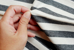 Folded gray striped cotton. Stock Photography