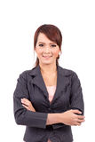 Folded hands . business portrait of smiling asia woman. White background Royalty Free Stock Photography