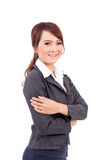 Folded hands . business portrait of smiling asia woman. White background Royalty Free Stock Images