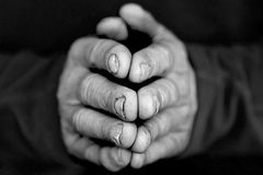Folded Hands I. Closeup of folded hands in black and white stock images