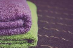 Folded hotel towels Stock Photo