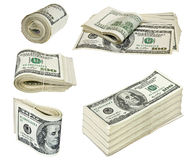 Folded hundred dollar bills isolated on white Royalty Free Stock Photography