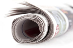 Folded isolated newspaper Royalty Free Stock Photos