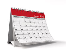 Folded January 2013 Desktop Calendar Royalty Free Stock Photo