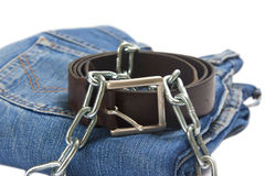 Folded jean and belt royalty free stock image