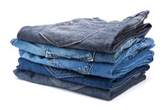 Folded jean stack Royalty Free Stock Image