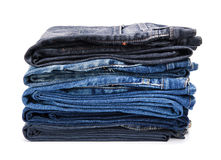 Folded jean stack Stock Photos