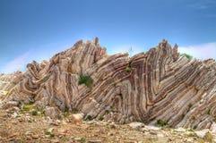Folded limestone. On Crete, Greece Stock Photography