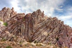 Folded limestone. On the island of Crete, Greece Royalty Free Stock Image