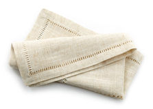 Folded linen napkin Stock Photos