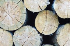 Folded logs stacked on top of each other. stock photography