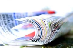 Folded magazine. Closeup shot of folded magazine stock photo