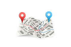 Folded map icon with track between GPS points on white Royalty Free Stock Photo
