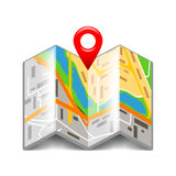 Folded map  on white vector Stock Image