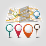 Folded maps with color point markers Royalty Free Stock Photography