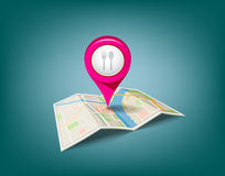 Folded maps with pink color point markers Stock Photo