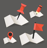 Folded maps. With point markers Royalty Free Stock Photo