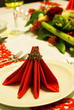 Folded napkins on christmas table Royalty Free Stock Photos