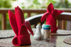 Folded napkins outdoors Stock Photos