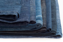 Folded New Blue Jeans Stock Photography