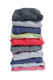 Folded Newly Washed Clothes on White Background Royalty Free Stock Photo