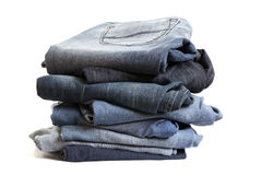 Folded Old Blue Jeans Stock Photography
