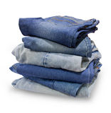 Folded Old Blue Jeanss Royalty Free Stock Images