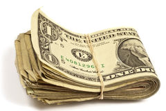 Folded Old Dollar Bills With Rubber Band Stock Photography
