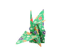 Folded origami paper crane green Royalty Free Stock Image