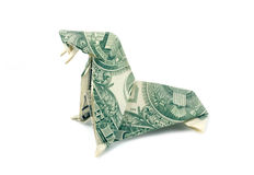 Folded Origami Walrus Dollar Royalty Free Stock Photography
