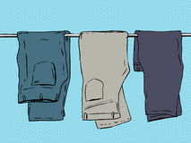 Folded Over Pants On Blue Stock Images