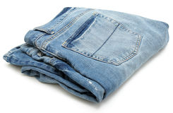 Folded Pair of Jeans Royalty Free Stock Images