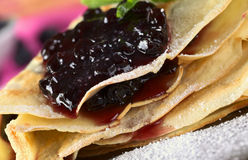 Folded Pancake with Blueberry Jam Royalty Free Stock Photography