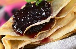 Folded Pancake with Blueberry Jam Royalty Free Stock Photography