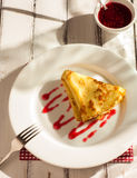Folded pancake on white plate Stock Image