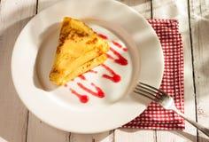 Folded pancake on white plate Royalty Free Stock Images