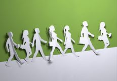 Paper Art - Crowd Of People Background stock illustration