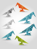 Folded paper birds Stock Photography