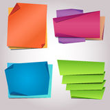 Folded paper blank sticker templates Royalty Free Stock Images