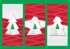 Folded paper Christmas tree with braided ribbons Stock Image