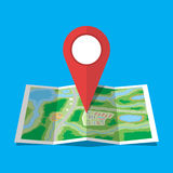 Folded paper city map icon Royalty Free Stock Photos