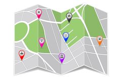 Folded paper city map. Zoom out view. With popular location markers. Vector 3d illustration vector illustration