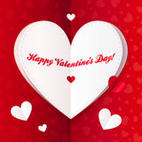 Folded paper heart with Happy Valentines Day text Stock Photo