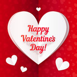 Folded paper heart with Happy Valentines Day text Stock Image