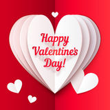 Folded paper heart with Happy Valentines Day text Stock Images