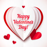 Folded paper heart with Happy Valentines Day text Stock Photos