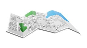 Folded paper map. Illustration with fiction map of streets in city with blue pond and green forest isolated on white background Royalty Free Stock Photos
