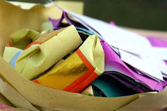 Folded paper offerings. For Ching Ming festival at a Chinese cemetery royalty free stock photo