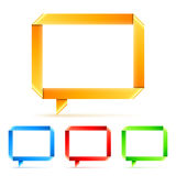 Folded Paper Speech Bubbles. Set of 4 color paper origami speech bubbles Royalty Free Stock Photo