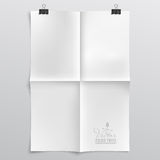 Folded Paper Template. Realistic, Clean Vector Folded Paper Template with Paper Clips and Shadow - Layered, Organized Vector File Royalty Free Stock Photography